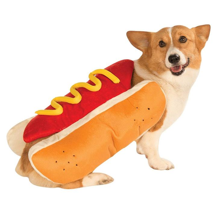 Funny Hotdog Bun with Mustard Food Costume for Dog