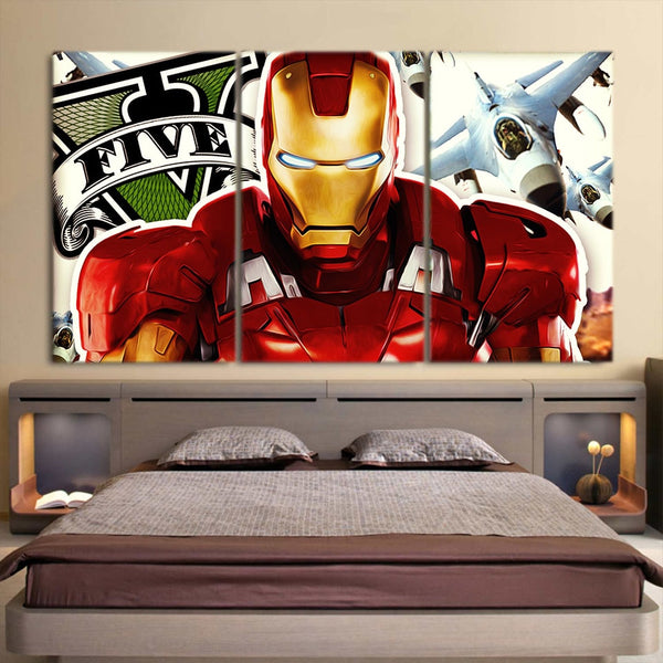 Marvel Comics Iron Man Aggressive Style 3pcs Canvas Print