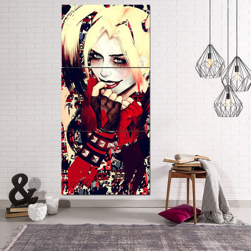 Harley Quinn Yellow Hair Suicide Squad Cool 3pcs Vertical Canvas