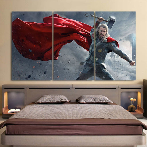 Thor Real Angry On Fight Thunder Hammer 3pcs Canvas Horizontal
