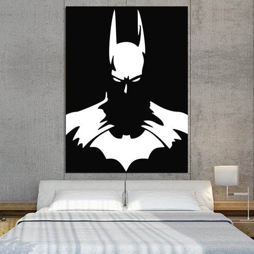 White Batman Superhero Thug Print On Black 1pc Canvas Wall Art