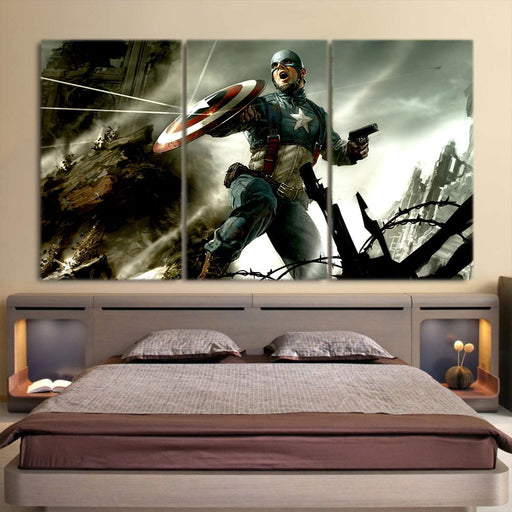 Triggered Captain America War Fighting 3pcs Canvas Horizontal