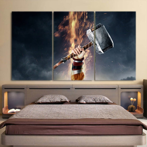 Thor Cartoon Hand Holding Hammer Amazing 3pcs Canvas Horizontal