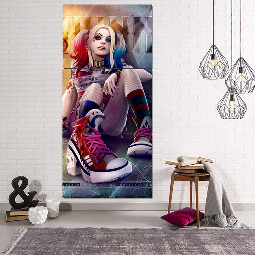 Harley Quinn Sitting Red Sneaker On Amazing 3pcs Vertical Canvas