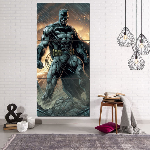 Angry Batman Standing Under The Rain 3pcs Canvas Vertical - Superheroes Gears