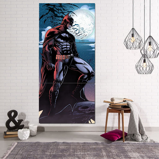 Batman Under The Moon With Bats And Night Blue Sea 3pcs Canvas - Superheroes Gears