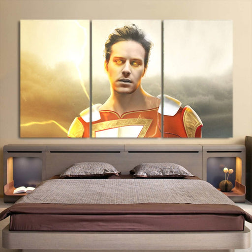 DC Comics Shazam Billy Batson Portrait 3pc Wall Art Canvas Print