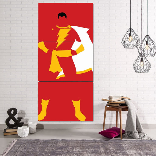 Captain Marvel Shazam Superhero Simple 3pc Wall Art Canvas Print