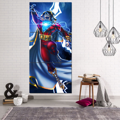 DC Comics Flying Captain Marvel Shazam Vertical 3pc Canvas Print