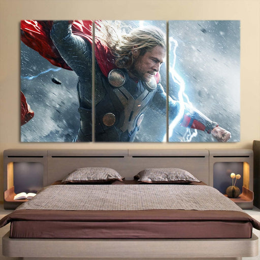 Thor Face Angry On Fight Flying Thunder 3pcs Canvas Horizontal