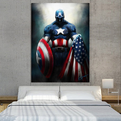 Captain America Shield Flag Paint Art 1pc Vertical Canvas