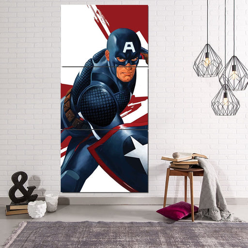 Captain America 3D Realistic Print 3pcs Canvas Vertical