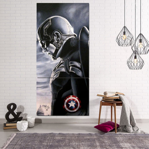 Captain America Side Pose  Shield Cool 3pcs Canvas Vertical