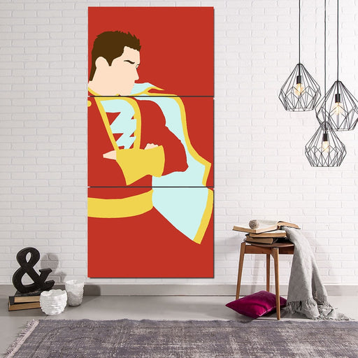 Captain Marvel Shazam Trendy Red 3pc Wall Art Canvas Print