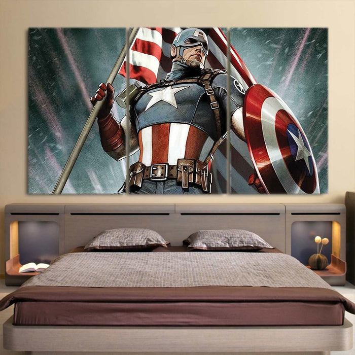 Captain America Holding American Flag 3pcs Canvas Horizontal