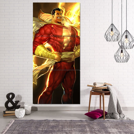 DC Comics Shazam Golden Vertical 3pc Wall Art Canvas Print