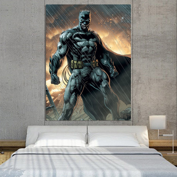 Angry Batman Standing Under The Rain Full Print 1pc Wall Art Canvas - Superheroes Gears