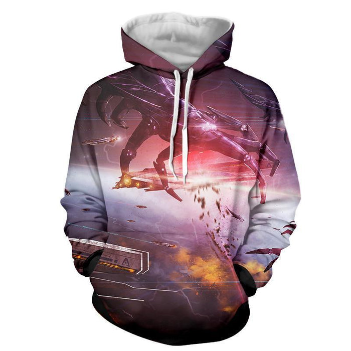 Mass Effect Reaper Battle Spaceship Cool Game Winter Hoodie