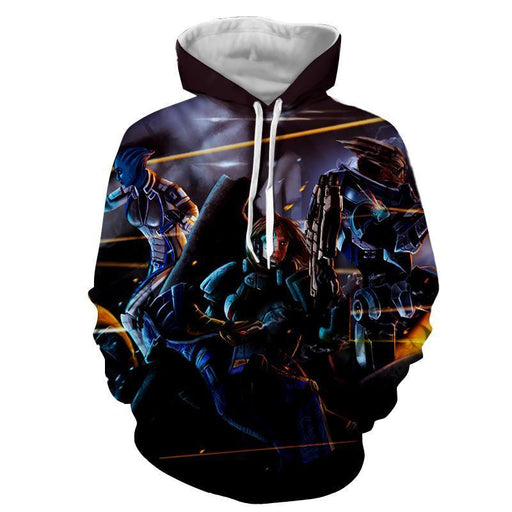 Mass Effect Female Fighter Cartoon Style Fan Art Hoodie