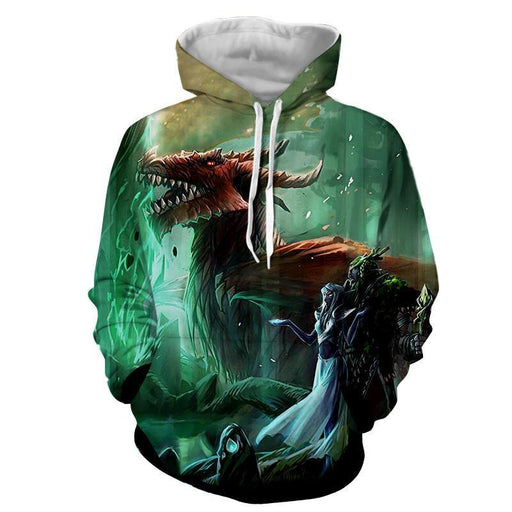 World of Warcraft Elf Dragon Fantasy Gaming Art Hoodie