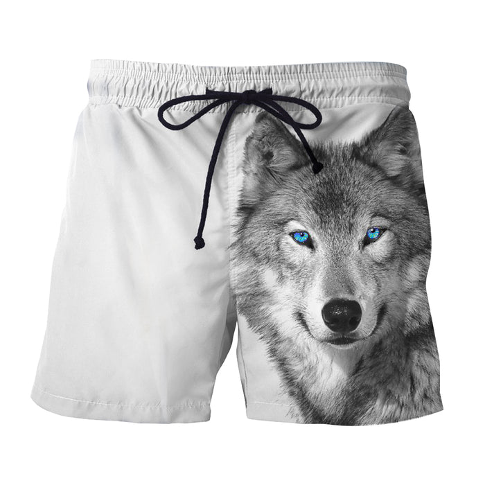 Realistic Art Of Wolf With Blue Eyes Fashionable Boardshorts