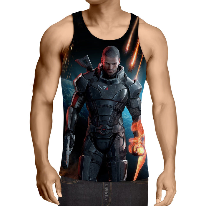Mass Effect Captain Shepard Earth Attack Full Print Tank Top