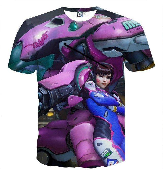 Overwatch D.Va MEKA Mech Pilot Hero Tank Cool Design T-Shirt
