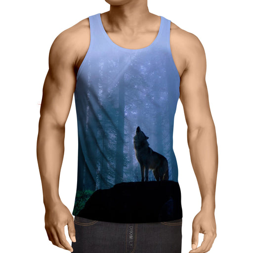 Wild Wolf Howling Lonely Hunter Animal Summer Style Tank Top