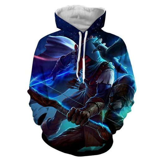 World of Warcraft Archer Raven Mask Vibrant Design Hoodie