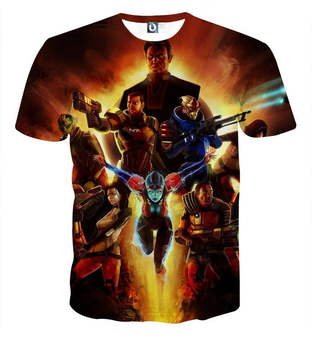 Mass Effect Main Characters Cartoon Style Gaming T-Shirt