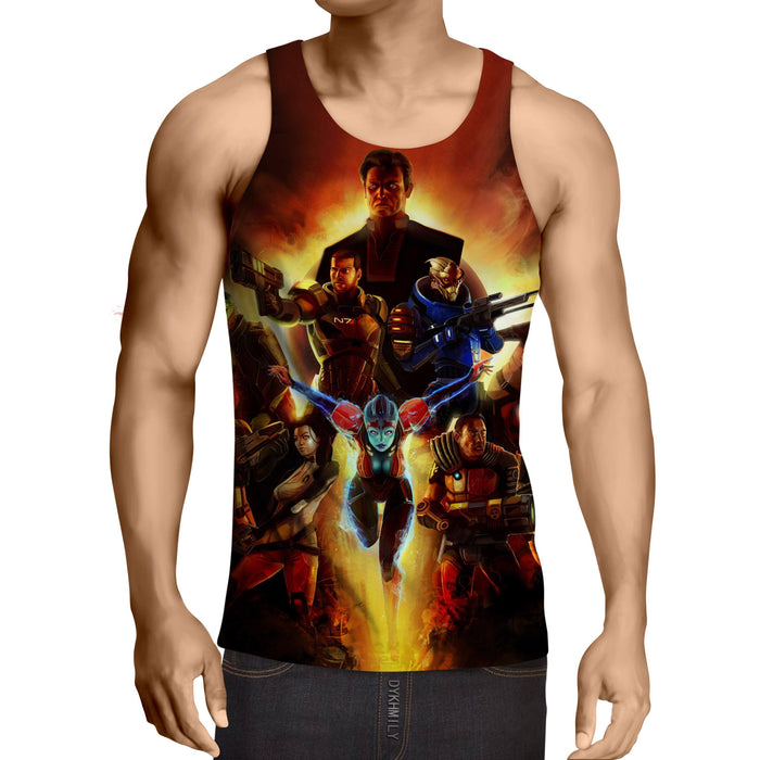 Mass Effect Main Characters Cartoon Style Gaming Tank Top