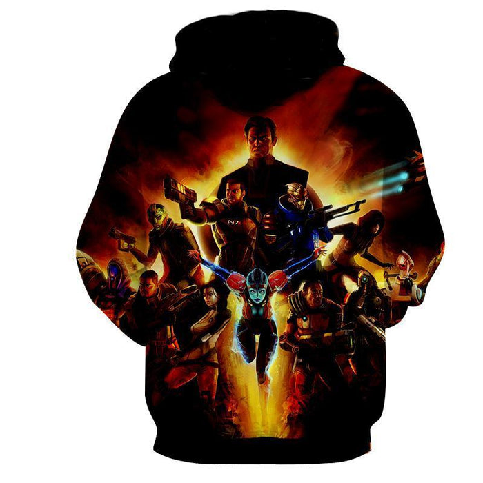 Mass Effect Main Characters Cartoon Style Gaming Hoodie