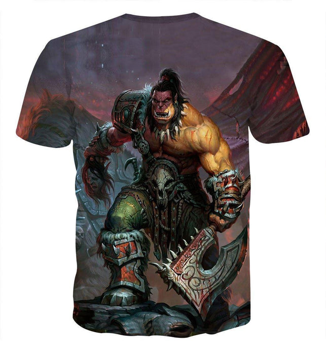 World of Warcraft Orc Warrior Grom Hellscream Game T-Shirt