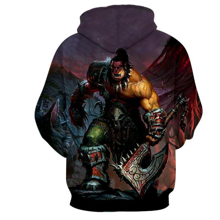 World of Warcraft Orc Warrior Grom Hellscream Game Hoodie