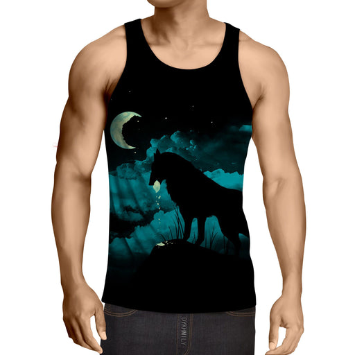 Wolf Shadow Eat Moon Creative Concept Full Print Tank Top