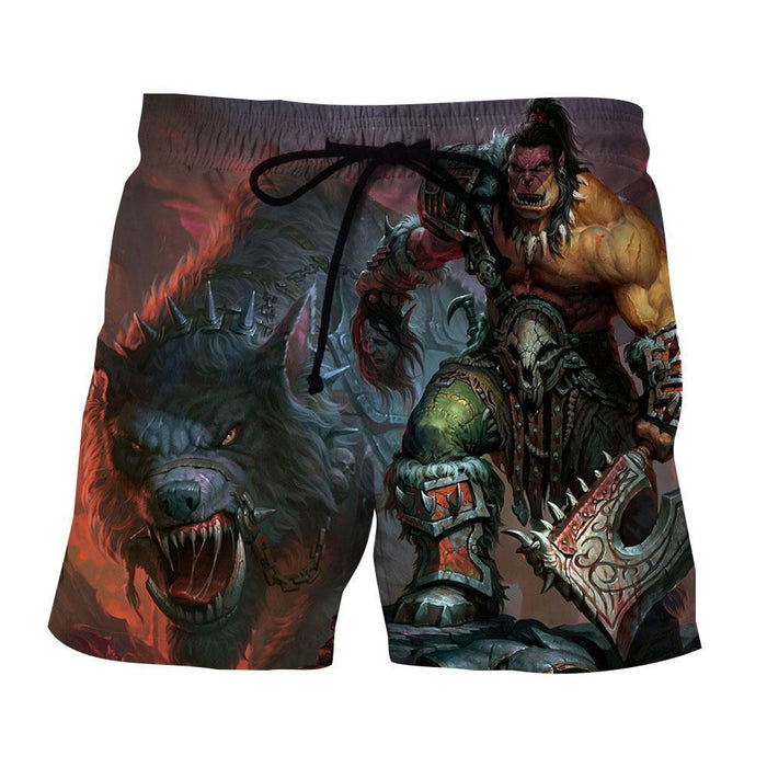 World of Warcraft Orc Wolf Grom Hellscream Gaming Shorts