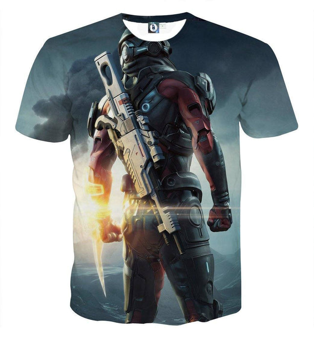 Mass Effect Captain Assault Rifle Laser Blade Cool T-Shirt - Superheroes Gears