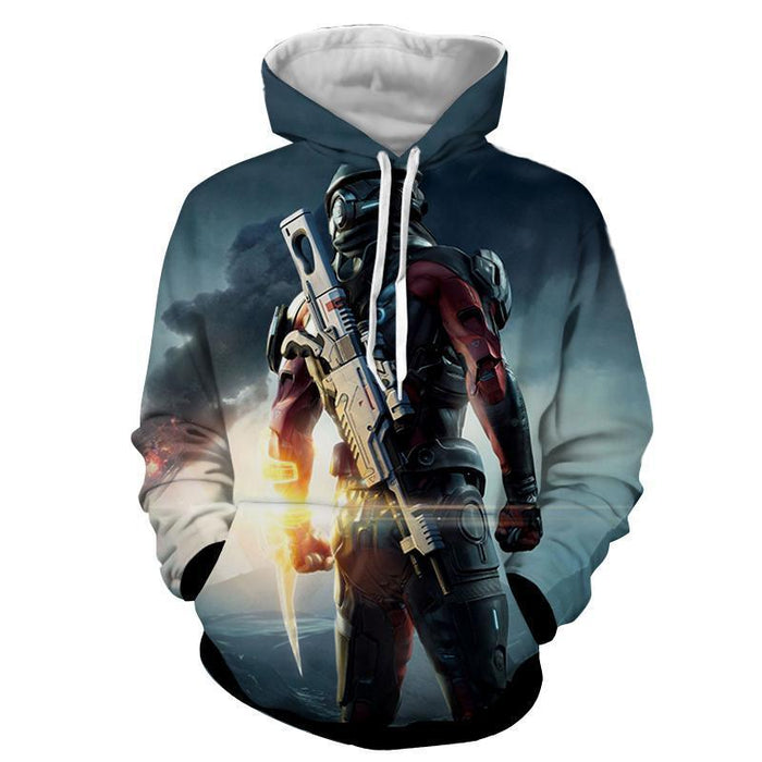 Mass Effect Captain Assault Rifle Laser Blade Cool Hoodie - Superheroes Gears