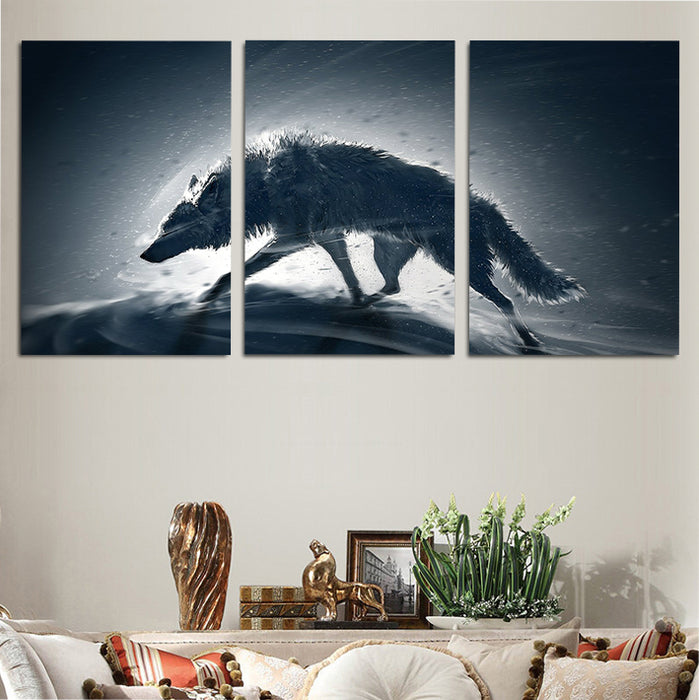 Wolf Walking Alone In A Snowy Place Unique 3PCS Canvas Prints