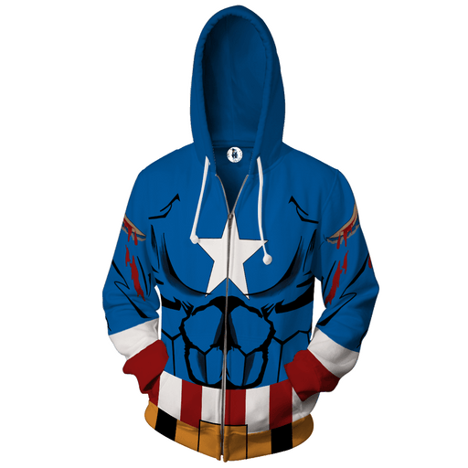 Civil War Captain America Hero 3D Cosplay Zip Up Hoodies