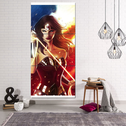 DC Comics Fierce Wonder Woman Golden Lasso Amazing 3 Pcs Canvas Vertical