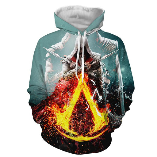 Assassin's Creed Bayek Flaming Symbol Crest Vibrant Hoodie