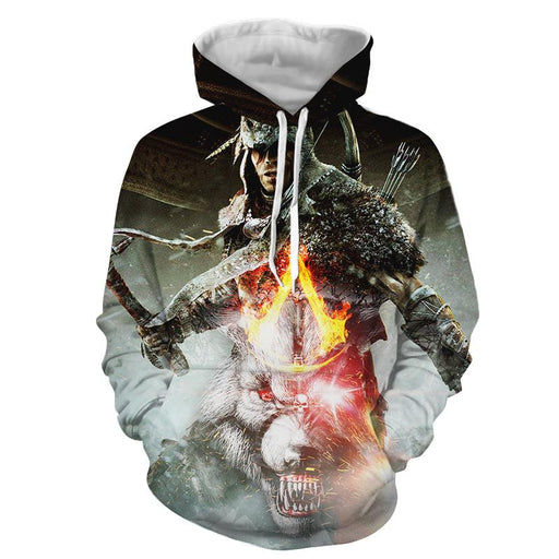 Assassin's Creed Connor White Angry Wolf Design Dope Hoodie