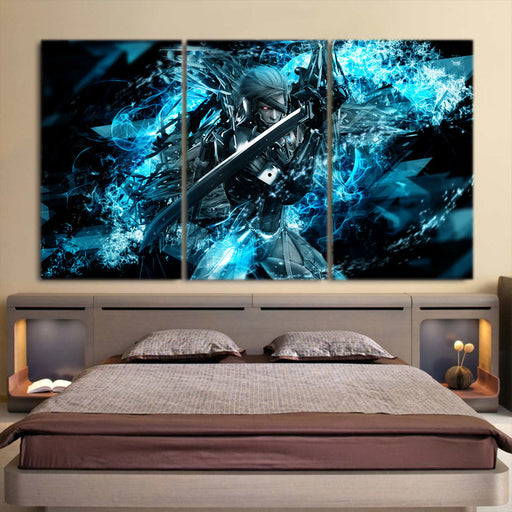 Metal Gear Raiden With Sword Vibrant Blue 3pcs Canvas Prints