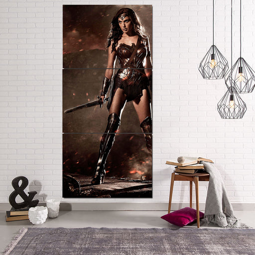 Wonder Woman Standing Brave Gal Gadot Holding Sword 3 Pcs Canvas Vertical