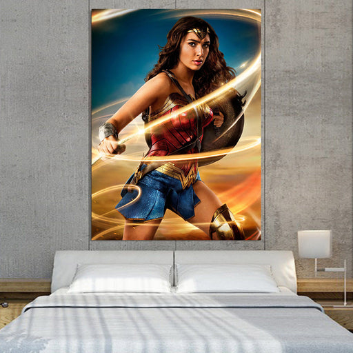 Beautiful Gal Gadot Wonder Woman Holding Golden Lasso 1pc Canvas