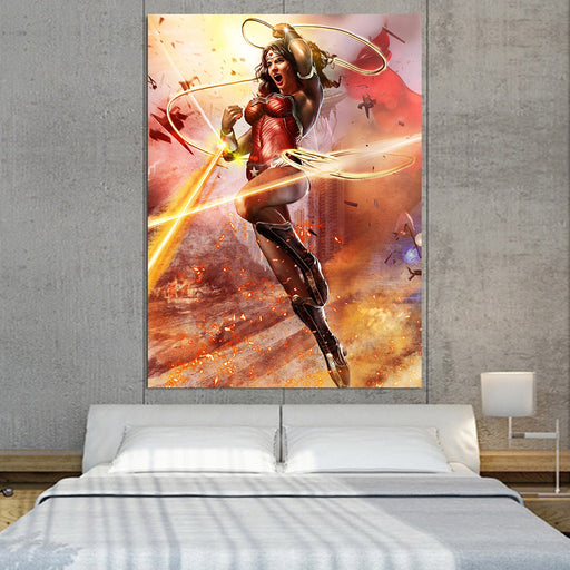 Wonder Woman Superhero Warner Bros Fighting Cool 1pc Vertical Canvas