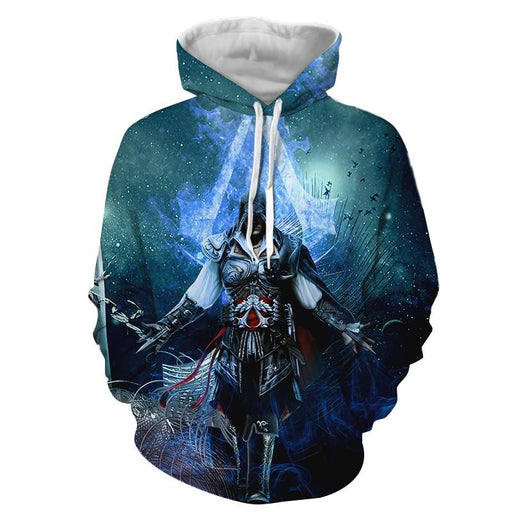Assassin's Creed Ezio Epic Vibrant Blue Flame Design Hoodie