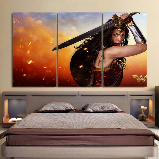 Wonder Woman Beautiful Gal Gadot Realistic 3D 3pcs Canvas Horizontal