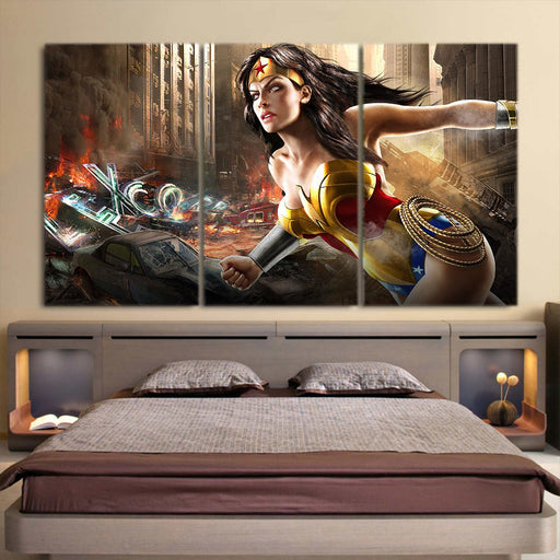 Wonder Woman Ready To Save On Messy Fight Scene 3pcs Canvas Horizontal